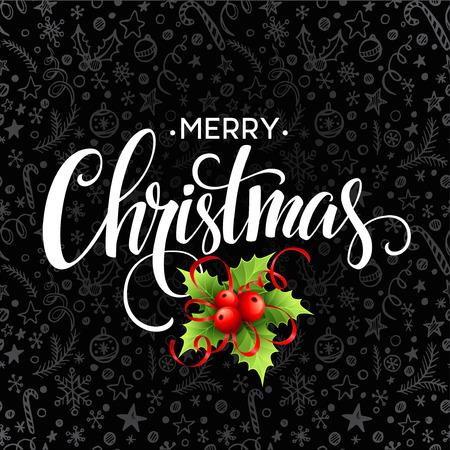 pine tree branch: Christmas decoration on chalk board. Vector illustration