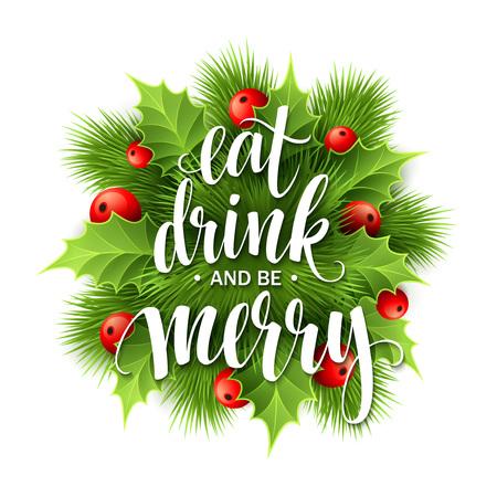 comiendo fruta: Cartel de las letras Coma la bebida y sea feliz. Ilustraci�n vectorial EPS10