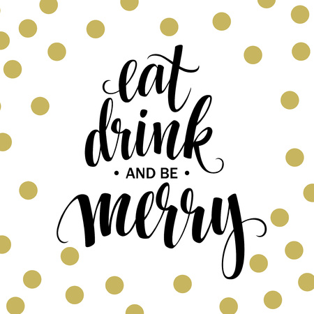 pareja comiendo: Cartel de las letras Coma la bebida y sea feliz. Ilustración vectorial EPS10