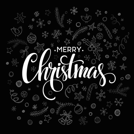 retro christmas: Merry Christmas lettering design. Vector illustration EPS10 Illustration