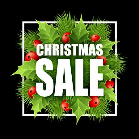 クリスマス セールは、ホリーとデザインします。ベクトル図 EPS10  イラスト・ベクター素材