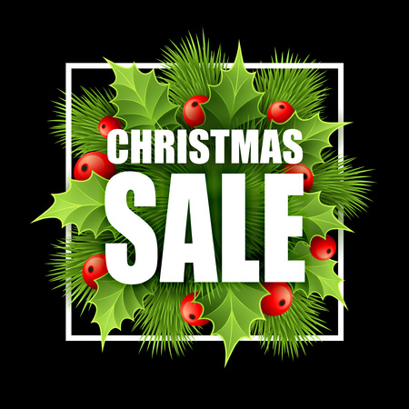 Christmas sale design with holly. Vector illustration EPS10