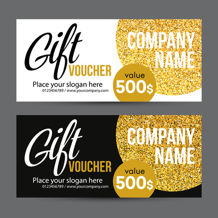 Gift Card Design with Gold Glitter Texture. Vector illustration EPS10