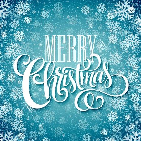 copo de nieve: Feliz Navidad texto escrito a mano en el fondo con copos de nieve. ilustración vectorial EPS10