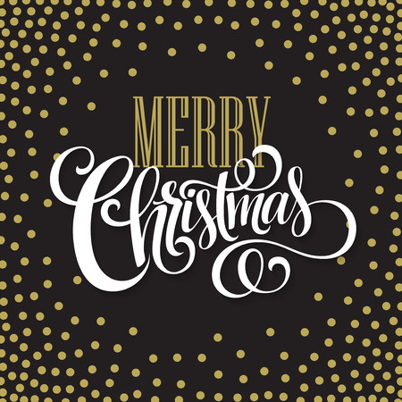 christmas poster: Merry Christmas gold glittering lettering design. Vector illustration EPS10