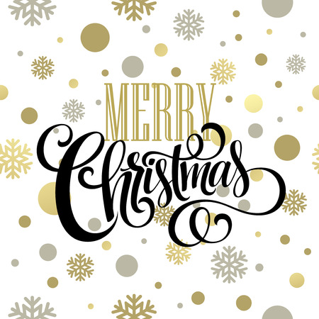 Merry Christmas gold glittering lettering design. Vector illustration EPS10