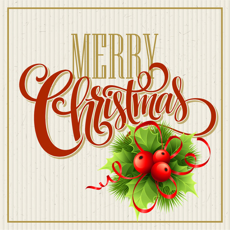 Merry Christmas Lettering Design. Vector illustration EPS10