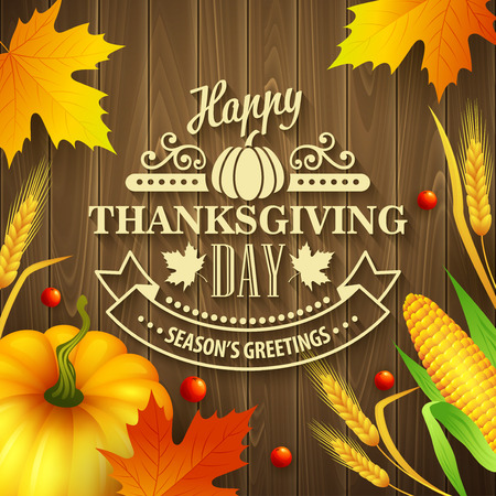 background brown: Hand drawn thanksgiving greeting card with leaves, pumpkin and spica on wood background. Vector illustration EPS 10