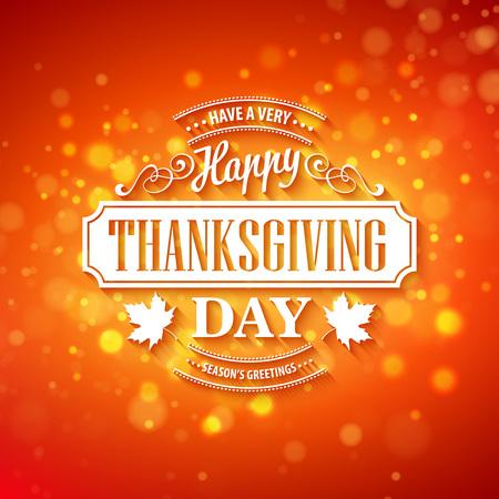 caes: Vector el diseño de la tipografía de Acción de Gracias borrosa y boke otoño de fondo EPS 10