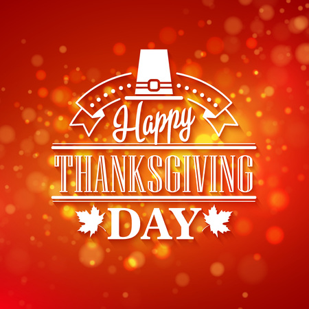 caes: Vector typography design Thanksgiving  Blurred and boke autumn background EPS 10