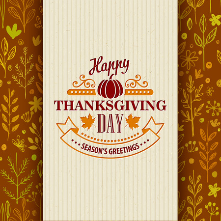 floral elements: Thanksgiving typography greeting card on seamless pattern. Vector illustration EPS 10