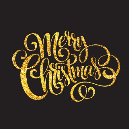 Merry Christmas gold glittering lettering design.