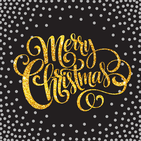 christmas tag: Merry Christmas gold glittering lettering design.