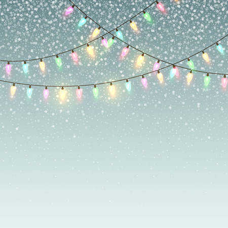 holiday invitation: Christmas background with lights and snow.