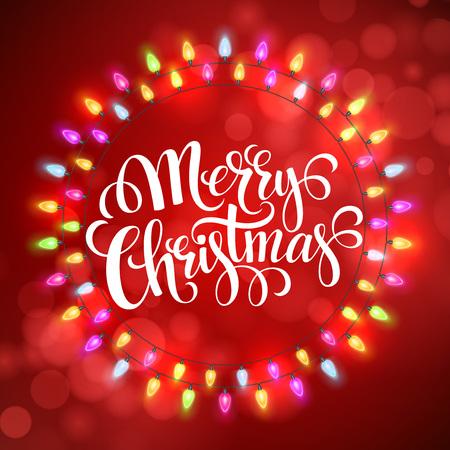 feestelijk: Christmas Lights Frames met. Stock Illustratie