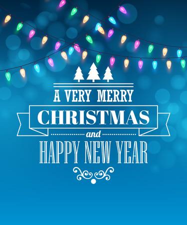 christmas lights: Christmas light tipography poster. Illustration
