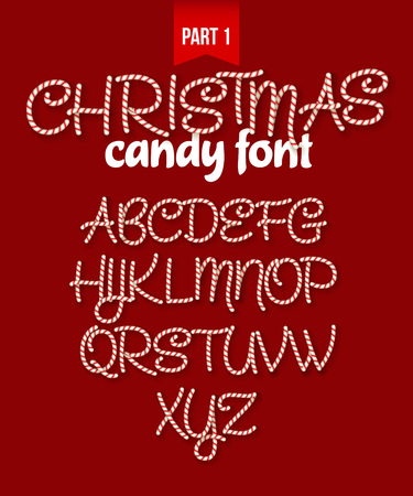 christmas candy: Christmas Candy cane alphabet.