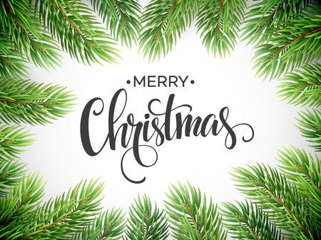 boom: Takken van de kerstboom De Grens. Stock Illustratie