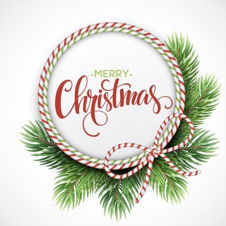 クリスマスのモミの枝のサークル フレーム。ベクトル図 EPS10