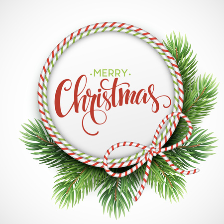 Christmas circle frame of fir branches. Vector illustration EPS10