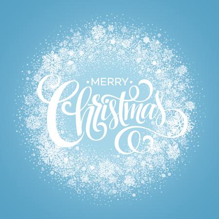 Blue Christmas Snowflake Wreath. 向量圖像