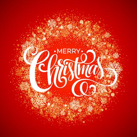 赤の雪片のクリスマス リース。  イラスト・ベクター素材