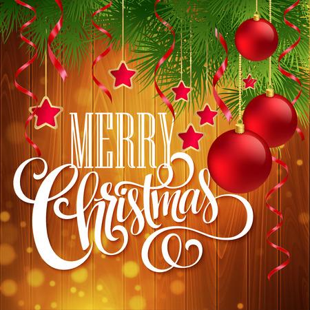 Kerst decoratie op houten achtergrond. Stock Illustratie