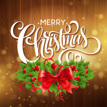 decorative frames: Christmas holly wreath with text banner. Vector illustration EPS10