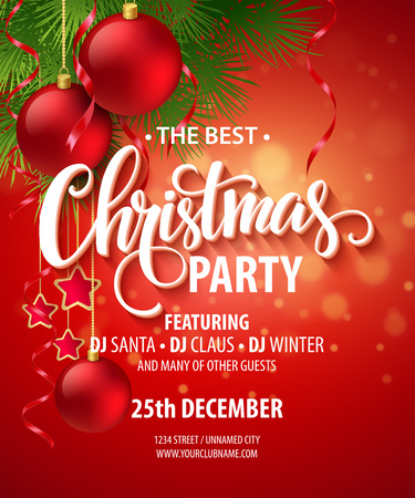 merry: Vector Christmas Party design template.