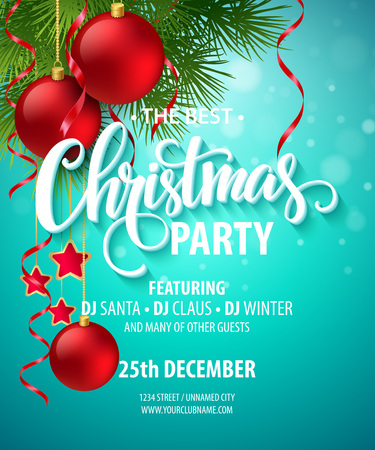 christmas red: Vector Christmas Party design template.