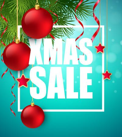 xmas decoration: Xmas sale poster with cristmas decoration.