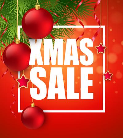 xmas decoration: Xmas sale poster with cristmas decoration.  Illustration