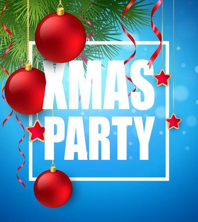 party design: Vector Christmas Party design template.