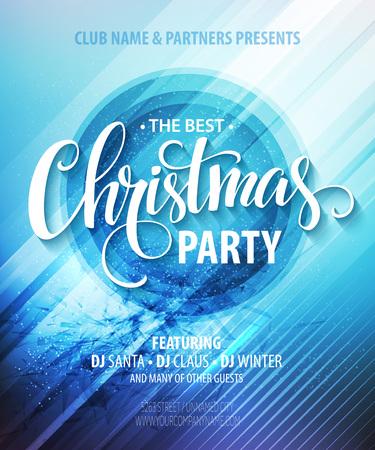 クリスマスの夜パーティ告知ポスターやチラシ。  イラスト・ベクター素材