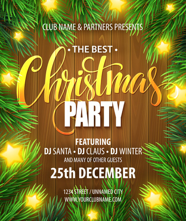 christmas tree ball: Christmas Party poster design template.
