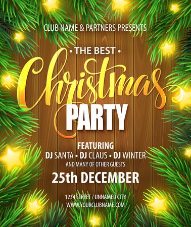 invitación a fiesta: Fiesta de Navidad plantilla de diseño del cartel. Vectores