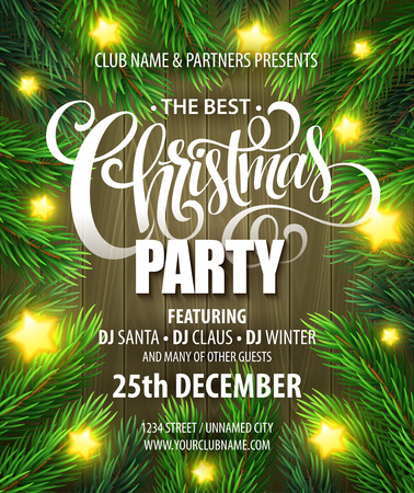 party design: Christmas Party poster design template. Vector illustration EPS10