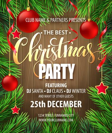 クリスマス パーティーのポスター デザインのテンプレートです。ベクトル図 EPS10