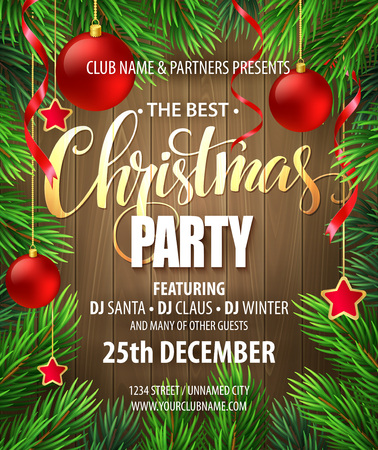 pine decoration: Christmas Party poster design template. Vector illustration EPS10