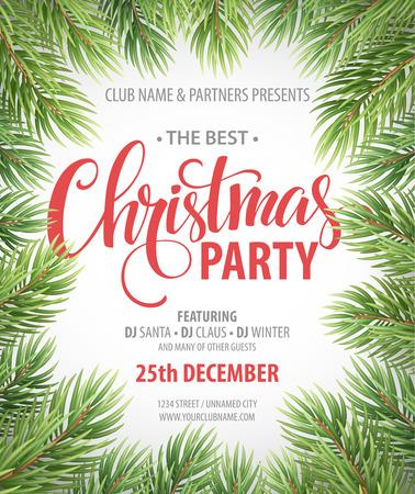 invitación a fiesta: Plantilla de diseño de la fiesta de Navidad. Ilustración vectorial EPS10 Vectores