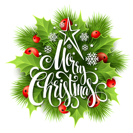 Print design: Merry Christmas lettering card with holly. Vector illustration
