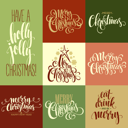 metal background: Merry Christmas Lettering Design Set. Vector illustration