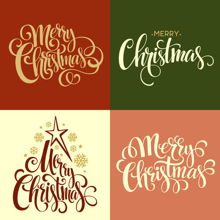 text message: Merry Christmas Lettering Design Set. Vector illustration