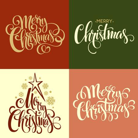 golden christmas: Merry Christmas Lettering Design Set. Vector illustration