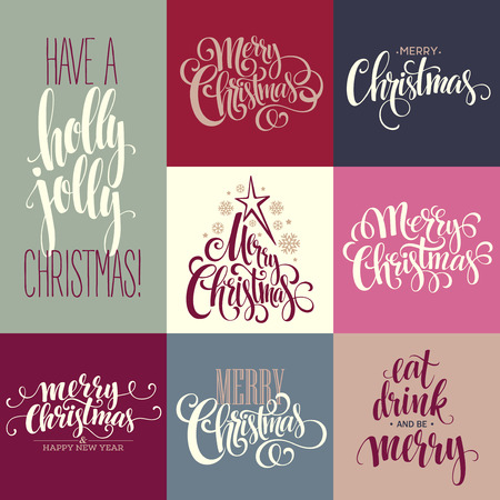 merry: Merry Christmas Lettering Design Set. Vector illustration