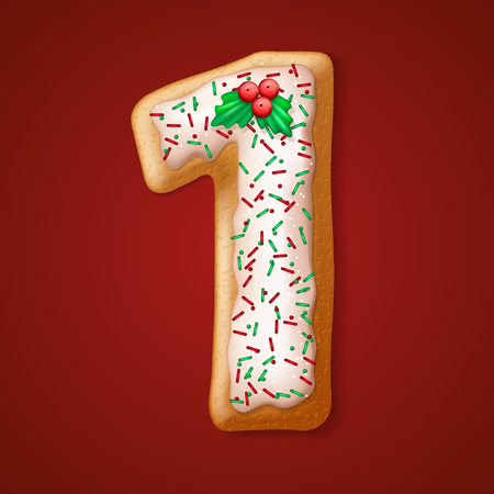 cake with icing: Christmas  cookies  numbers and character. Vector illustration   Illustration