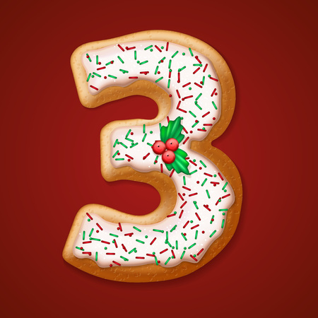cookie on white: Christmas  cookies  numbers and character. Vector illustration   Illustration