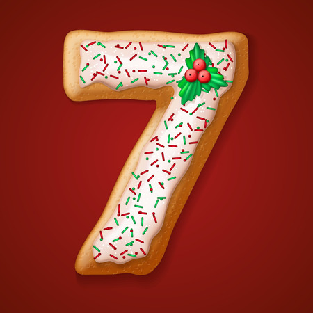 christmas cake: Christmas  cookies  numbers and character. Vector illustration Illustration
