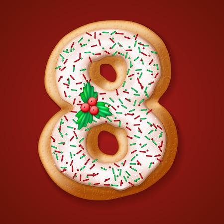 Navidad galletas números y caracteres. ilustración vectorial