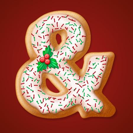 galleta de jengibre: Navidad galletas números y caracteres. ilustración vectorial Vectores